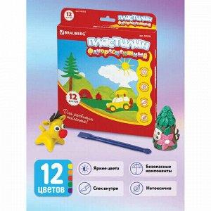 Пластилин флуоресцентный BRAUBERG, 12 цветов, 180 г, со стеком, картонная упаковка, 103353