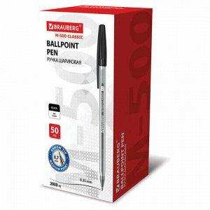 """Ручка шариковая BRAUBERG """"M-500 CLASSIC"""", ЧЕРНАЯ, корпус прозрачный, узел 0,7 мм, линия письма 0,35 мм, 143445, цена за 5шт."""