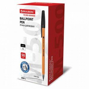 """Ручка шариковая BRAUBERG """"M-500 ORANGE"""", ЧЕРНАЯ, корпус оранжевый, узел 0,7 мм, линия письма 0,35 мм, 143449, цена за 5шт."""