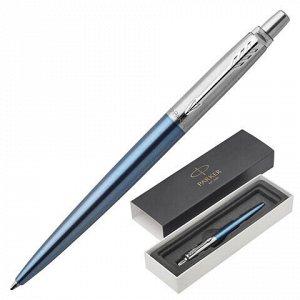 """Ручка шариковая PARKER """"Jotter Core Waterloo Blue CT"""", корпус голубой, хромированные детали, синяя, 1953191"""