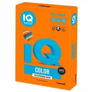 Бумага цветная IQ color, А4, 160 г/м2, 250 л., интенсив, оранжевая, OR43