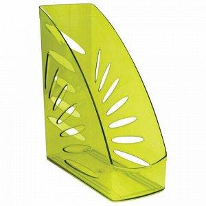 """Лоток вертикальный для бумаг, увеличенная ширина (245х263 мм), увеличенная ширина 110 мм, СТАММ """"Тропик"""", тонированный зеленый, ЛТ357"""