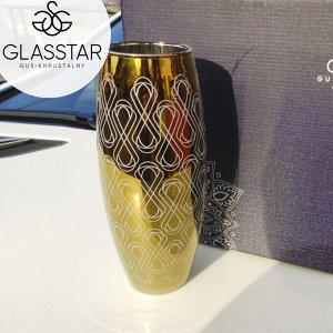 """Ваза Glasstar """"Черное золото + бесконечность"""" / 265 мм"""