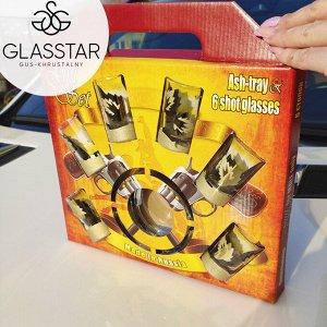 """Набор из 7 предметов Glasstar """"Лист"""" (6 стопок + пепельница)"""