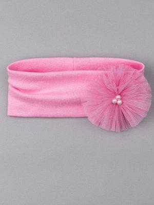 Повязка трикотажная для девочки, сбоку бант из фатина с бусинами, розовый