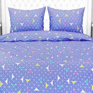 """""""Треугольники, синий"""" Постельное белье, комплект 2-х спальны"""