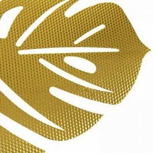 "Салфетка декоративная ""Лист"" 32х41см рифленая, ПВХ, золото ("