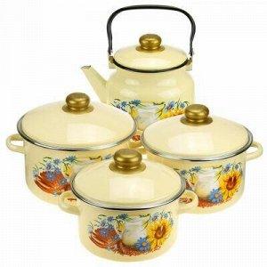 """Набор эмалированной посуды """"Утро"""" 4 предмета: кастрюля - 2л."""