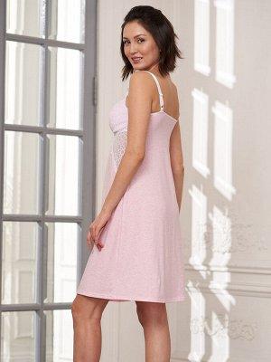Сорочка Ofelia розовый меланж  (хлопок 55% PE30% PA10% эластан 5%)