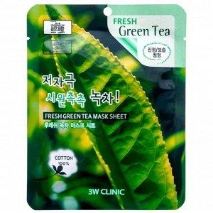 "370013 ""3W CLINIC"" Fresh Green Tea Mask Sheet Маска тканевая для лица с экстрактом зеленого чая 23 мл"