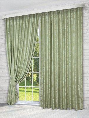 Комплект штор зеленого оттенка: 2 шторы по 200 см