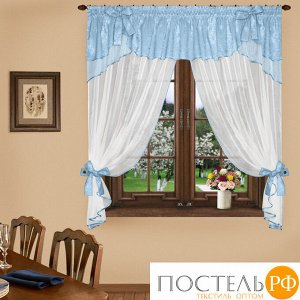 Комплект штор № 041, 160*300 голубой/белый