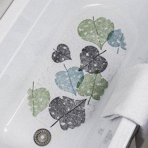 Коврик для ванны Доляна «Листья», 38?66 см