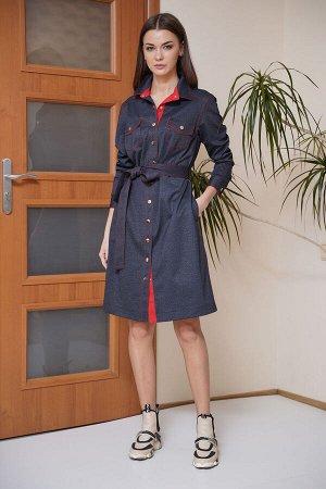 Платье Платье Fantazia Mod 3651 красная отделка  Состав: Вискоза-33%; ПЭ-64%; Спандекс-3%; Сезон: Весна Рост: 164  Универсальное и практичное - такое платье must-have в гардеробе любой женщины, живущ