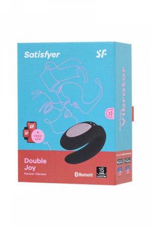 Многофункциональный стимулятор для пар satisfyer partner double joy, силикон, черный, 18 см