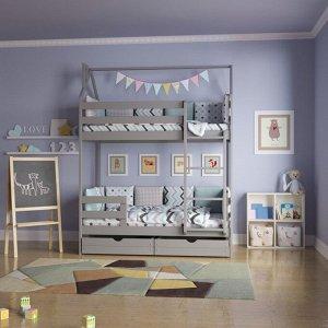 Кровать Домик двухъярусный 160*80 серый