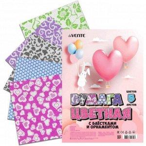 Бумага цветная самоклеящаяся А4, 5 листов, 5 цвета deVENTE Mix, 250 г/м?, с блёстками и орнаментом