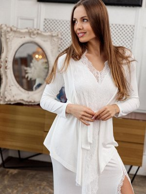 Комплект : Платье с разрезом на ноге / Кардиган с кружевом NEW. Цвет молочный