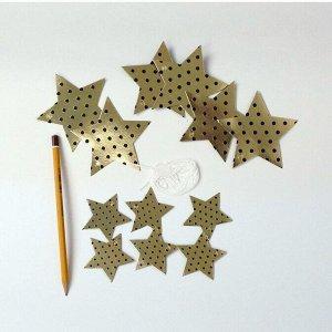 Гирлянда Звезды 250см золото черный горох, золото серебряный горох