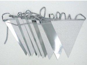 Гирлянда вымпел 300 см бумага цвет серебро