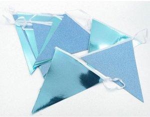Гирлянда вымпел 300 см бумага цвет голубой  HS-21-2