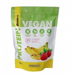 Протеиновый коктейль Клубнично-банановый смузи Vegan Protein Strawberry banana BombBar 900 гр.
