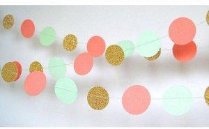 Гирлянда Круги блеск 200 см розовый/мятный/золото