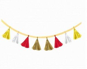 Гирлянда праздничная из кисточек 8 шт 200 см разноцветная