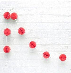 Гирлянда Шар соты 1,5 м 8 шаров 8 см цвет красный