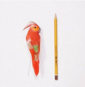 Птичка на вставке с хохолком 14 см цвет микс HS-18-5