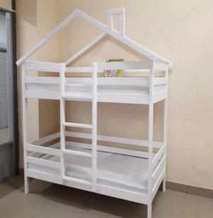 Кровать Домик двухъярусный Особый 160*80 Белый