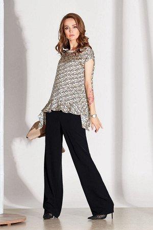 Блуза Блуза NOCHE MIO 6.134  Состав: Вискоза-75%; ПЭ-25%; Сезон: Весна-Лето Рост: 164  Блузка из приятного к телу полотна с дизайнерским принтом. Составит отличную пару брюкам в чёрном цвете, а также