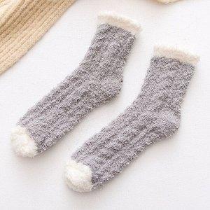 Махровые Носочки,серые с белым