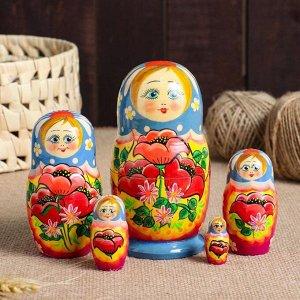 """Матрешка 5-ти кукольная """"Маки"""", 15 см, ручная роспись"""