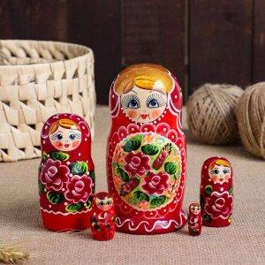 "Матрешка 5-ти кукольная ""Дарья"" узоры, 14см, ручная роспись"