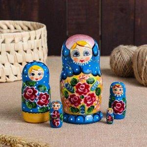 "Матрешка 5-ти кукольная ""Александра"" узоры, 15 см, ручная роспись"