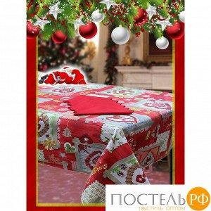 VALLEPIANO Скатерть+салфетки ОТКРЫТКА-НГ(коробка) 140*220, 100% хлопок, Assortitto
