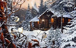 Алмазная живопись - мозаика Дом в зимнем лесу
