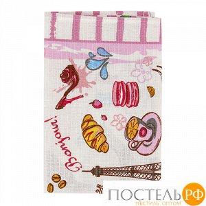 """Полотенце 45х60, КУПОН, вафельное полотно, 100 % хлопок, """"Париж (розовый)"""" (в ассортименте)"""