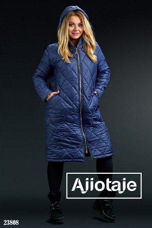 Стеганое пальто синего цвета с капюшоном