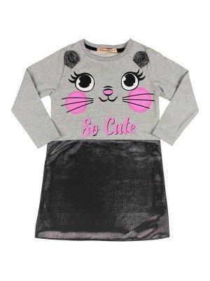 Платье для девочек (серый меланж)