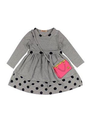 Платье для девочек серый меланж