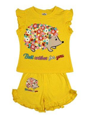 Комплект для девочки (футболка,шорты) (желтый)