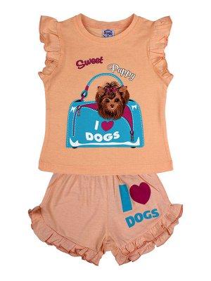 Комплект для девочки (футболка,шорты) персиковый