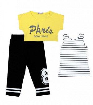 Комплект для девочки (Топик, майка,капри) желтый