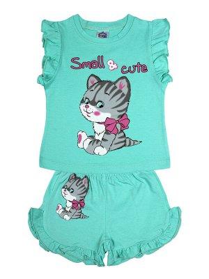 Комплект для девочки (футболка,шорты) ментоловый
