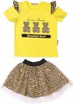 Комплект для девочки (футболка,юбка) лимонный