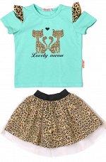 Комплект для девочки (футболка,юбка) ментоловый