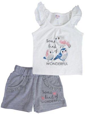 Белый Описание: Комплект для девочки майка и шорты. Майка украшена оригинальным принтом. Подкладка: нет. Застежка: нет. Карманы: нет. Декор: принт. Состав: хлопок 100%.