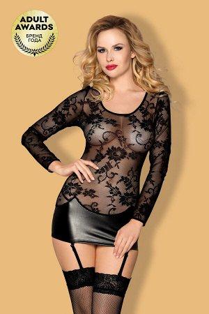 Платье с пажами, стринги и чулки Candy Girl Livia черные, XL
